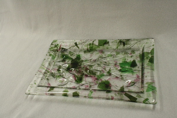 Confetti slump plate at Roses Glassworks