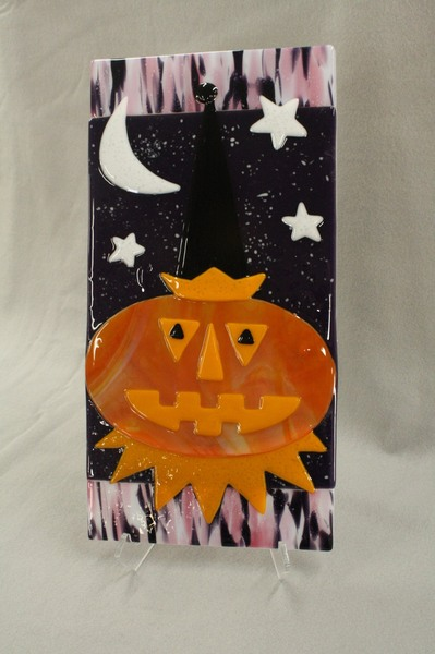 Tall pumpkin with moon at Roses Glassworks